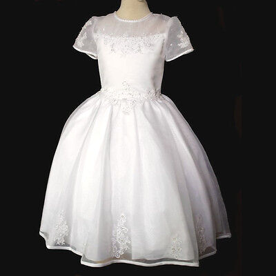 New Girl 1st Holy Communion Christening  Wedding Easter Formal White Dress ](Girls First Holy Communion Dresses)