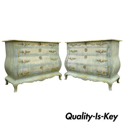 Pair of Custom Blue Distress Painted French Louis XV Style Bombe Commodes Chests