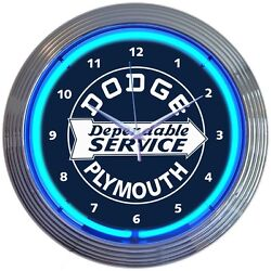Dependable Dodge & Plymouth Service Blue Neon Hanging Wall Clock 15 Wide 8DODGE