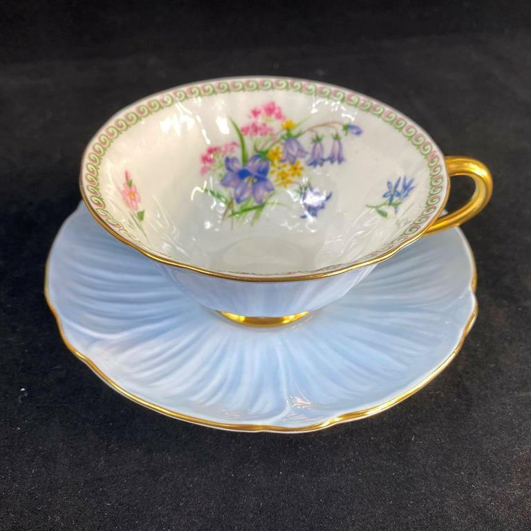 Vintage Shelley England WILDFLOWERS Floral Bouquet Oleander Cup Saucer