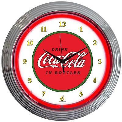 Classic Coca Cola 1910 design neon clock sign Coke Soda licensed Lamp