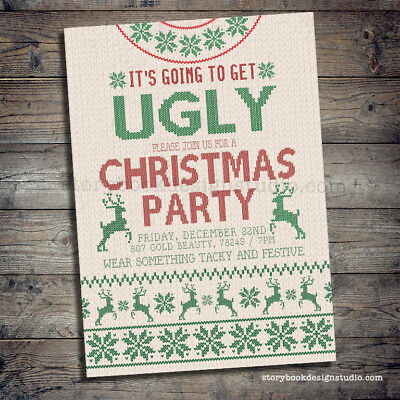 Christmas Sweater Party Invitation / Ugly Christmas Sweater / PRINTED Set of