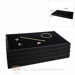 (4) Black Plastic Stackable Trays w/ Black Velvet Pad Display Jewelry Inserts