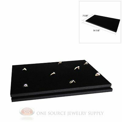 2 Black Ring Display Pads Holds 72 Slot Rings Tray Or Case Jewelry Insert