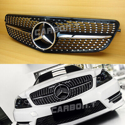For Benz C-Class W204 C45 Look 2008-2013 Gloss Black Diamond Style Front Grille
