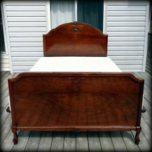 Antique Black Walnut Bed Frame (Converted into Queen Size)