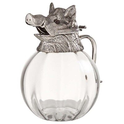 Valenti Glass Pitcher w/ Silver Plate Boars Head Top RARE Vintage 1960's