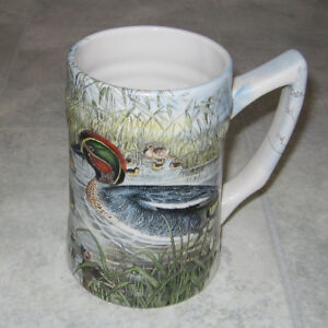 Duck print porcelain beer mug