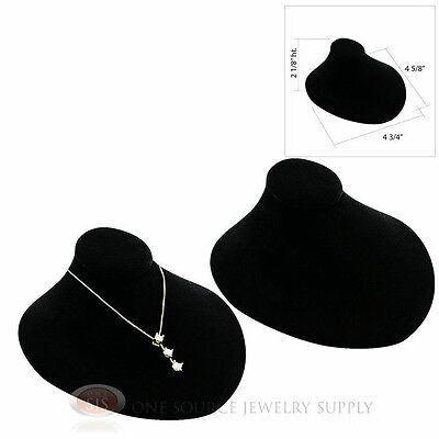 2 Black Velvet Lay-down Necklace Neckform Jewelry Bust 4 34w X 4 58d