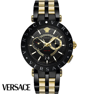Versace VEBV00619 V-Race gold black Stainless Steel Men's Watch NEW