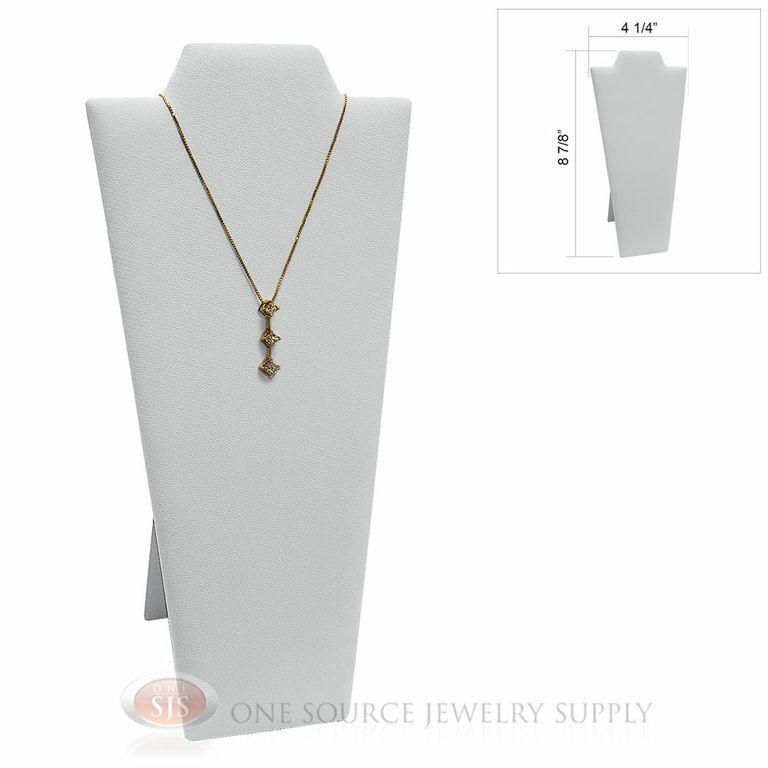 """White Velvet  8 7/8"""" Padded Pendant Necklace Display Easel Neckform Stand"""