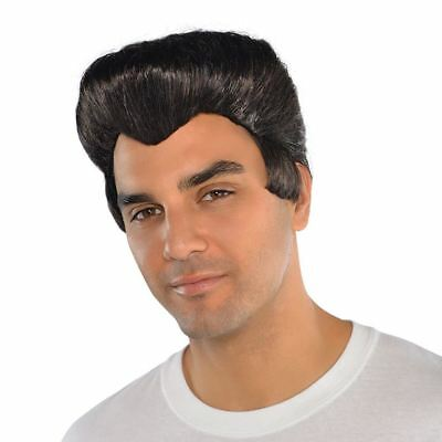 Men's 50's Kostüme (Adults Mens 50s Wig Grease The King Black Style Fancy Dress Music Pop Star Band)