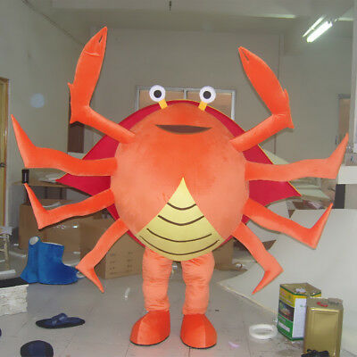 Halloween Crab Mascot Costume Suit Advertising Outfit Party Dress Adults Fancy - Halloween Party Description