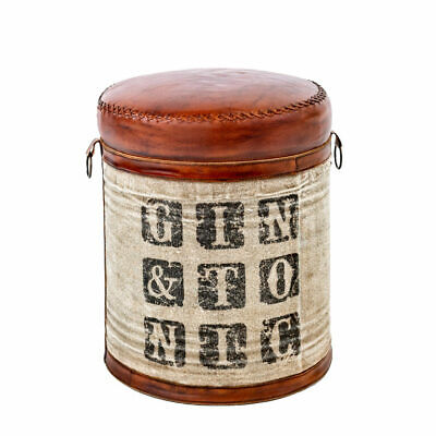 Vintage Leather Stool Gin and Tonic Design Genuine Leather
