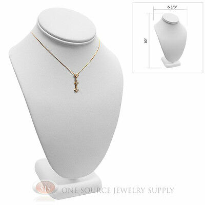 10 Pendant Necklace White Leather Neck Form Jewelry Presentation Display