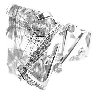 Authentic! Chanel 18k White Gold Large Rutilated Quartz Diamond Cocktail Ring