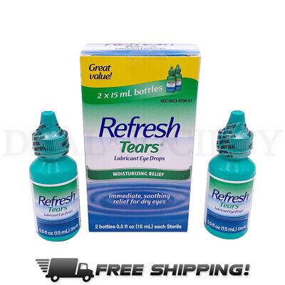 Refresh TEARS Lubricant Eye Drops, 0.5 Fl Oz Each (2 Count .5oz Bottles per Box)