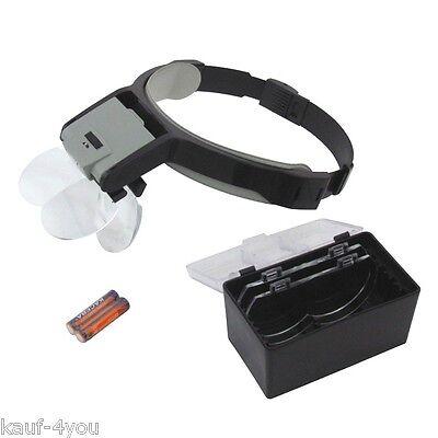 2 LED Kopflupe Kopfbandlupe Uhrmacherlupe mit Beleuchtung 8,75x Vergrößerung  8 X Lupe