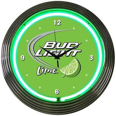 Bud Light Lime Neon Clock BLL Budweiser Anheuser-Busch sign light bar beer art