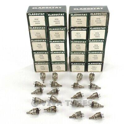 Nos Nib Vintage Lot Of 20 Clarostat Mini Potentiometers 1 Meg Ohm Miniature Pots