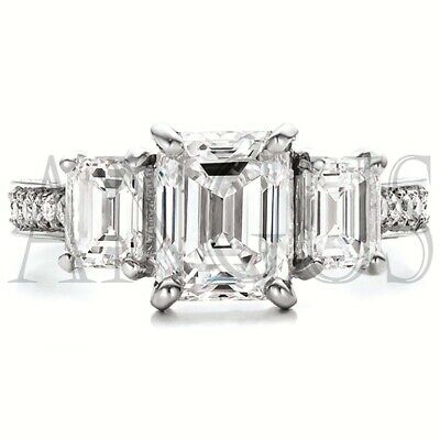4.01 ct Emerald Bridal Anniversary Diamond Engagement Ring Solid 14K White gold (Diamond Engagement Bridal Ring)