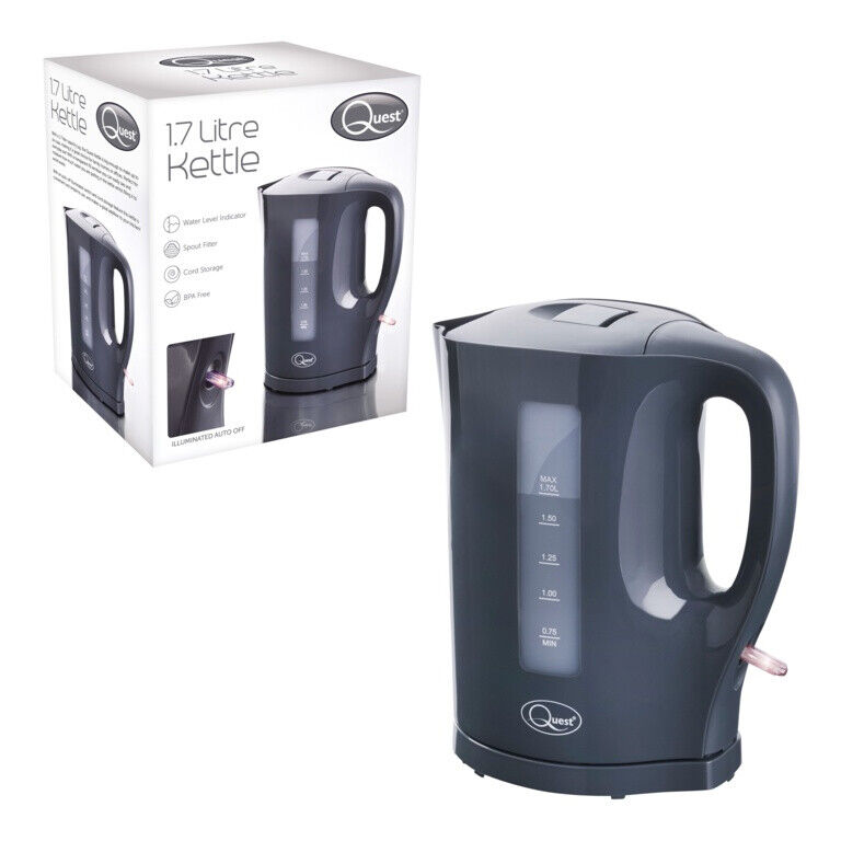 Quest 1.7L Kettle Jug Cordless Washable Filter Safety Cut Off 2200 Watts