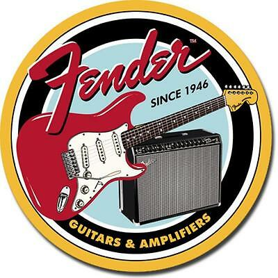 Fender Electric Guitars & Amplifiers Advertisement Round Tin Metal Sign