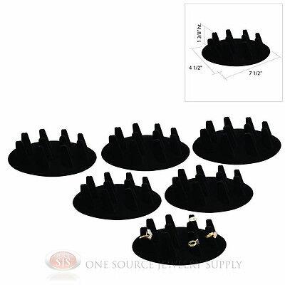 """(6) Ten Finger Black Velvet Ring Display 1 3/8"""" Presentat..."""