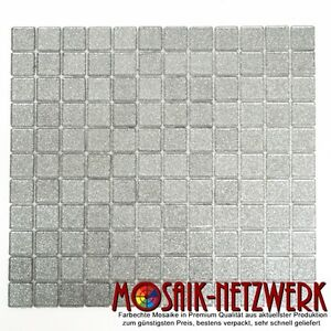 mosaik silber glitzer glas bad wc k che dusche fliesenspiegel art 60 0207 1qm ebay. Black Bedroom Furniture Sets. Home Design Ideas