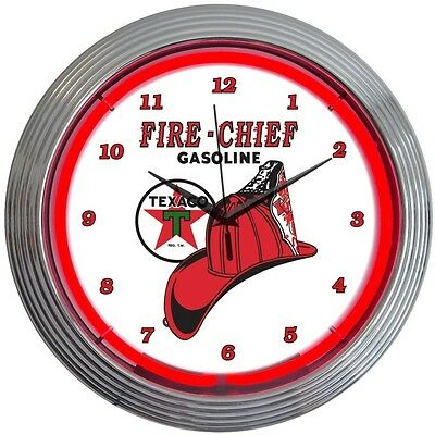 Texaco Gasoline Fire Chief Red Neon Hanging Wall Clock 15 Diameter 8TXFIR
