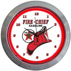 Texaco Gasoline Fire Chief Red Neon Hanging Wall Clock 15 Diameter 8TXFIR