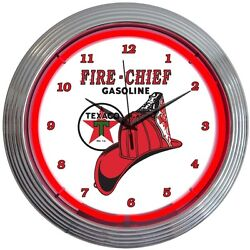 Texaco Gasoline Fire Chief Neon Hanging Wall Clock 15 Diameter