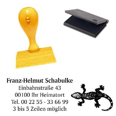 Adressenstempel « GECKO » mit Kissen - Firmenstempel - Echse Eidechse