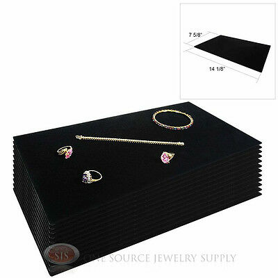 12 Black Plush Soft Velvet Jewelry Display Counter Display Pads Tray Liners
