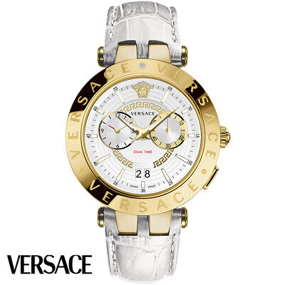Versace VEBV00319 V-Race gold white Leather Men's Watch NEW