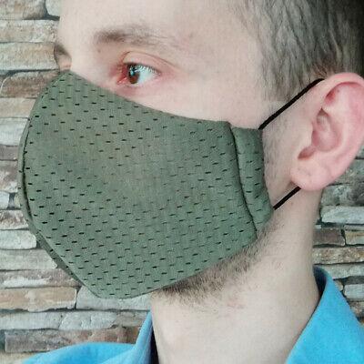 Gr M Coolmax® Mesh Arbeitsmaske 8-Stunden Mundschutz Gesichtsmaske oliv khaki