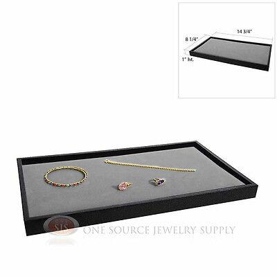 Black Plastic Stackable Tray W Gray Velvet Pad Display Jewelry Insert