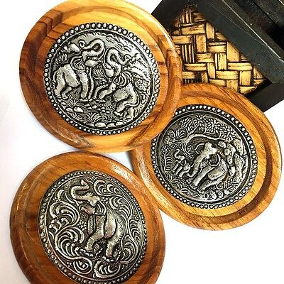 3 PCS THAI COASTERS WOOD WOODEN HANDCRAFT GIFT ROUND SAUCERS ELEPHANT NEW METAL.