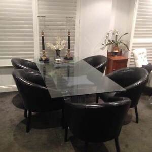 Dining Table - Glass top including 6 black tub chairs East Melbourne Melbourne City Preview