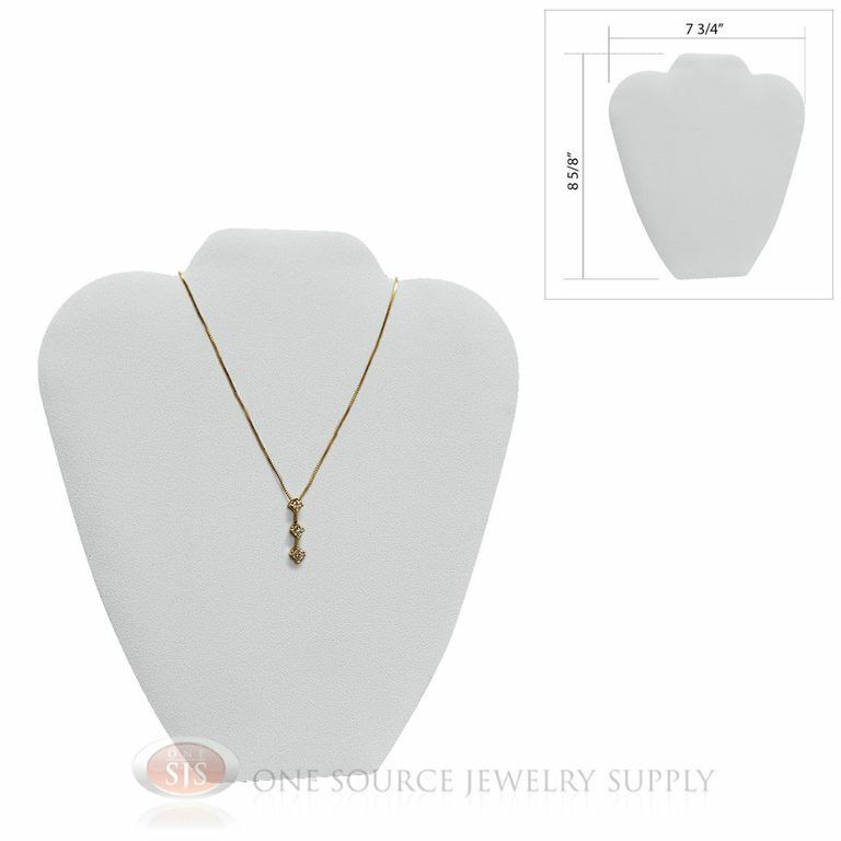 """8 5/8"""" White Leather Padded Pendant Jewelry Necklace Display Easel Presentation"""