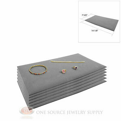 6 Gray Tray Liners Plush Soft Velvet Jewelry Display Counter Display Pads