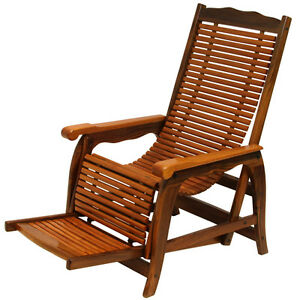 Rosewood Reclining Slatted Lounge Chair