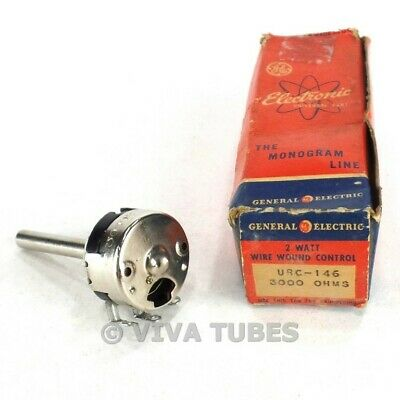 Nos Nib Vintage Ge Model Urc-146 Wire Wound Control Potentiometer 2 Watt 3k Ohm
