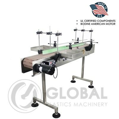 Globaltek 6 X 7.5 Dual Lane Ss Conveyor With Table Top Plastic Belt