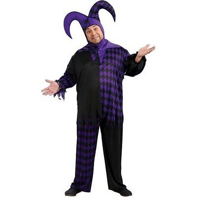 JESTER Costume Purple & Black Mardi Gras Pants Tunic & Hat - Free priority ()