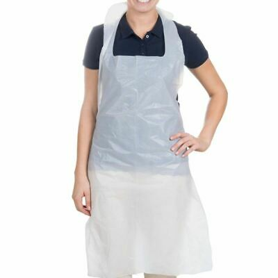 Disposable White Polythene Aprons - 16 Micron Thickness - Bag of 100