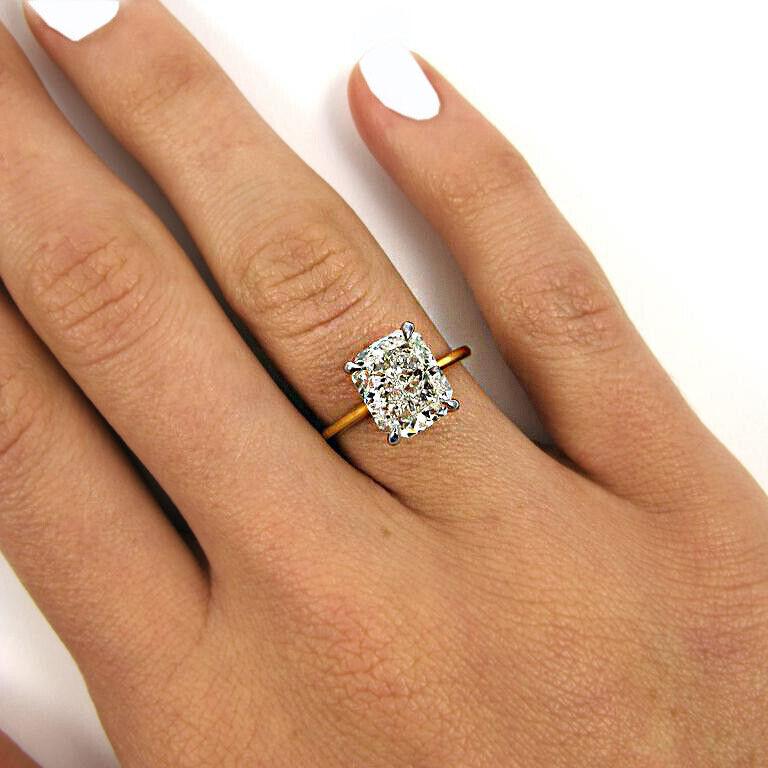 GIA Certified Diamond Engagement Ring Natural Cushion cut 1.00 carat 18K Gold