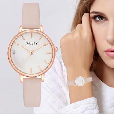 Fashion Women Watches Leather Band Analog Quartz Round Alloy Wrist Watch Gift