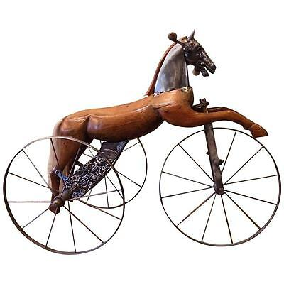 Antique French Velocipede Toy Horse Tricycle