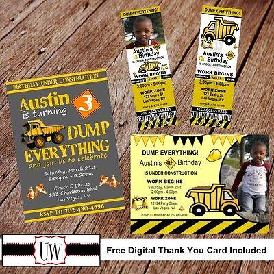 Printable Photo Dump Truck Birthday Invitation, Construction party favors DIY